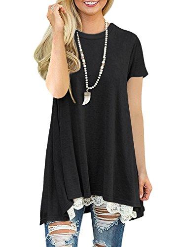 NICIAS Damen Sommer Kurzarm T-Shirt Pullover Rundhals Spitze Tunika Top Lässige Oberteil Bluse Shirt Schwarz M
