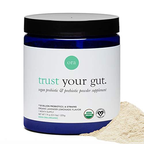 Ora Organic Prebiotic and Probiotic Powder Supplement - 20 Billion Probiotics, 6 Strains for Best Prebiotic Powder, Non-GMO, Probiotics for Women, Men & Kids - Lavender Lemonade Flavor, 30 Servings