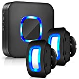 BISTEE Wireless Motion Sensor Alarm, Wireless Home Security Motion Sensor Detect Alert, Motion Detection Doorbell with 58 Chimes 5 Volumes, Black Doorbell & Motion Wireless Sensor & Blue LED Light