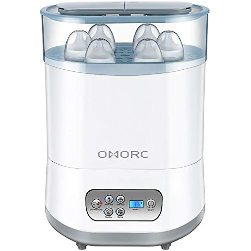 OMORC 550W Baby Bottle Sterilizer and Dryer, 5-in-1 Multifunctional Electric Steam Sterilizer with Auto Power-Off, Digital LCD Display for Sterilizing, Drying, Warming Milk, Heating Food