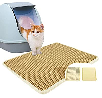 "Authda Cat Litter Mat with Cat Toy | Litter Trapping Mat Double Layer Waterproof | Cat Litter Tray Mat Honeycomb | Cat Litter Box Mat Scatter Control Washable (M - 60x40cm | 24""x 16"", Beige)"