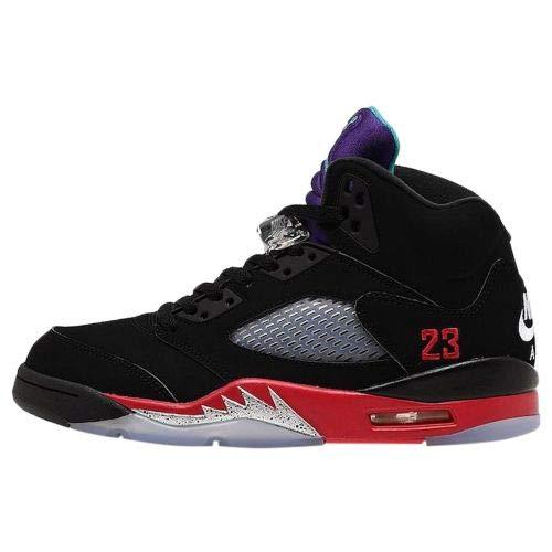 Jordan 5 Retro Top 3' Black/Fire Red-Grape Ice-New Emerald
