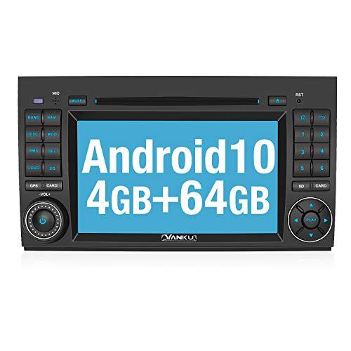 Vanku Android 10 Autoradio Radio für Mercedes-Benz A Klasse/B Klasse/Vito mit Navi 64GB+4GB Unterstützt Qualcomm Bluetooth 5.0 DAB + CD DVD Android Auto WiFi 4G 7 Zoll Bildschirm