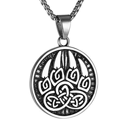 AsAlways Stainless Steel Norse Viking Wolf Paw Print Pendant Gothic Celtic Knot Paw Ring Men Retro Bear Claw Biker Band Rings Rock Punk Vintage Style Ancient Symbol Amulet (Style-2)