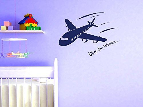 GRAZDesign Muurtattoo kinderkamer jongen vliegtuig klein - Muursticker plakfolie Jongens Vlieger 41x30cm 582 Bishop Purple