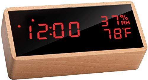 Flysocks Despertador Digital LED de Escritorio - Reloj de Mesa con Control por Voz, Mostrar Tiempo, Temperatura y Humedad, 3 Alarmas, 3 Niveles de Brillo. Incluye Cable USB