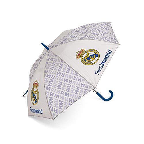 ARDITEX RM12971 Paraguas de poliéster del Real Madrid CF, 8 Paneles, diámetro 103cm, Apertura automática
