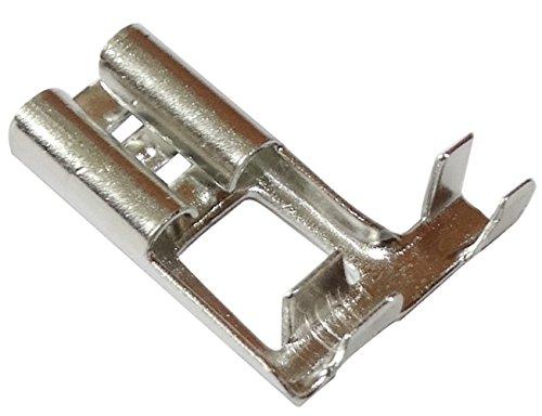 Aerzetix: 100 x Kabelschuhe Kabelschuh ( Klemme ) weiblich, Ecke flach 6.3mm 0.8mm 0,5-1mm2