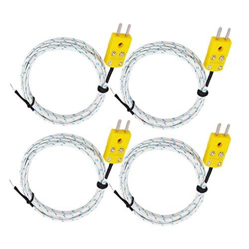 EElabper K-Typ Stecker Sensor Thermoelement Temperaturfühler Typ K Temperaturmessleitung 4 Stück