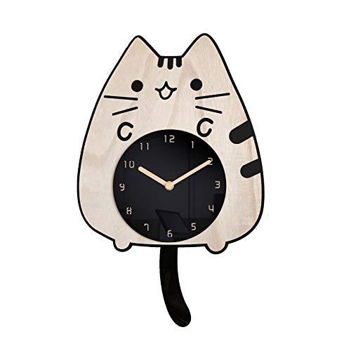 SANOSY Acrylic Cartoon Animal Clock Swinging cat Tail Silent Wall Wood Clocks for Kids Rooms