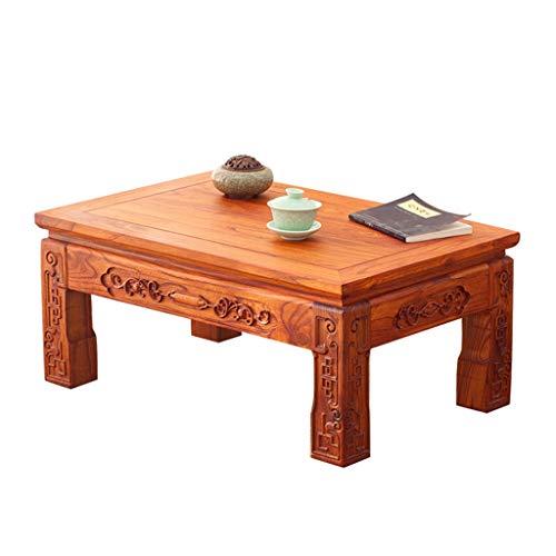 Tables Basse Tatami Balcon Baie Vitrée Petit Bureau Antique Vieil Orme Thé Salon en Bois Massif Lit Chambre Bureau Basses (Color : Light Brown, Size : 60 * 40 * 30cm)