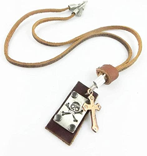 NC110 Collar con Colgante de Cuero marrón Cable de aleación Cuadrada Hombres Mujeres Moda Retro con suéter de Cadena Corta Joyería de Regalo YUAHJIGE