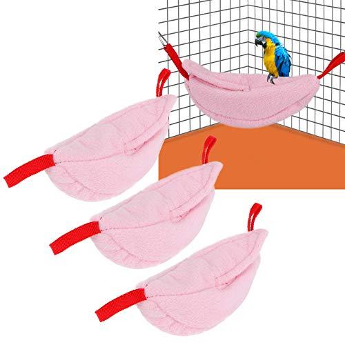 Papegaainesten, Huisdier Hangmat Kooi, Kleine Dieren Nesten Flanellen Hangmat Nesten Banaan Vorm Nesten, Winter Warm Nesten voor Vogels Dierbenodigdheden Hamsters Huisdier Bed(Rose red)