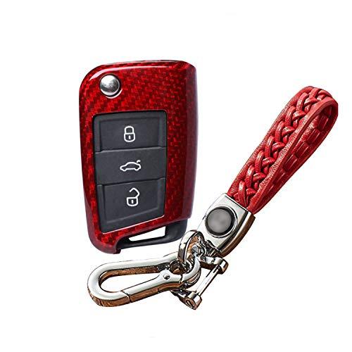 Kwak's Autoschlüssel Keyless Schlüssel Glasfaser Schutzhülle Auto Schlüsselhülle Cover Kompatibel für Volkswagen VW Golf 7 Lamando Skoda Octavia mit Leder Schlüsselanhänger(rot)