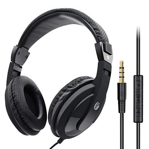 VCOM On Ear Kopfhörer Headphone mit Mikrofon 1.8M Wired Over-Ear Headset Leicht Studiokopfhörer mit HiFi Stereo für iPhone, iPad, Samsung, Huawei, HTC, TV, Laptop, Tablet