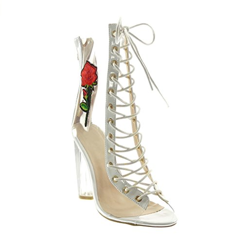 Angkorly - Damen Schuhe Stiefeletten - Peep-Toe - transparent - Spitze - Bestickt Blockabsatz high...