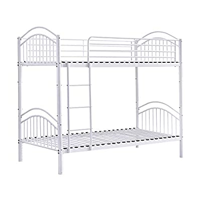 Huisen Furniture Single Bunk Bed Cot Frame 3FT Detachable Metal Day Bed Bedstead for Twin Bedroom Single Bed Frame for Kids Teens Adult Dormitory
