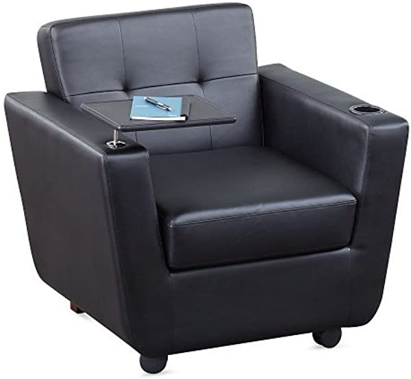 Officient New York Faux Leather Club Chair With Tablet Arm Black Faux Leather Black Metal Finish