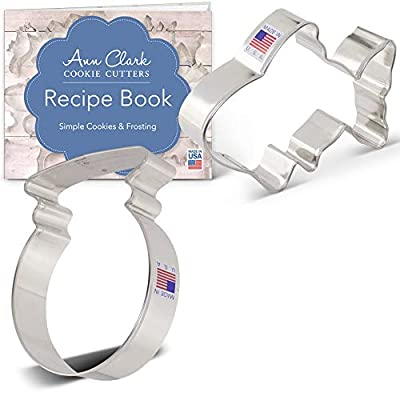 Ann Clark Cookie Cutters 2-Piece Goldfish Cookie Cutter Set with Recipe Booklet, Goldfish and Fish Bowl