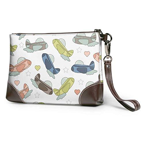 XCNGG Bolso de mano de cuero suave impermeable para hombre, diferentes aviones en el cielo, bolso de mano para mujer con cremallera para mujeres y niñas
