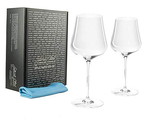 Palatina Werkstatt ® Gabriel-Glas | Gold Edition 2 er Set | mundgeblasenes Weinglas | 90 Gramm | spülmaschinenfest | + speziellem Gläser-Poliertuch