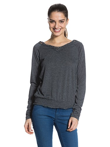 Roxy Eternal - T-shirt - Tunique - Uni - Col V - Manches longues - Femme - Noir (True Black Heather) - FR: 36 (Taille fabricant: S)