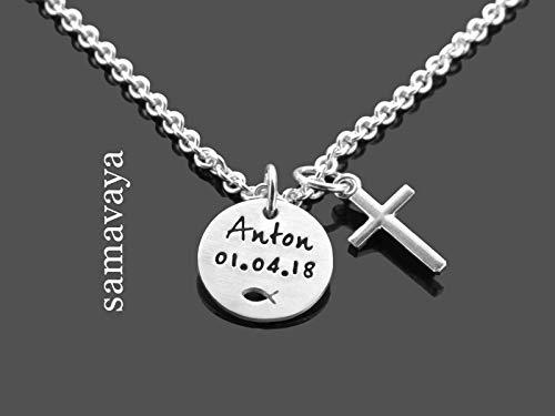 Taufkette mit Gravur Junge DEINE TAUFE KREUZ 925 Silberkette Namenskette mit Gravur Taufgeschenk
