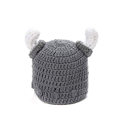 ROSETOR 1 x Strickmütze für Babys und Erwachsene mit Bart und Wikinger, Barbarisches Stierhorn, gehäkelt, handgefertigt, Grau