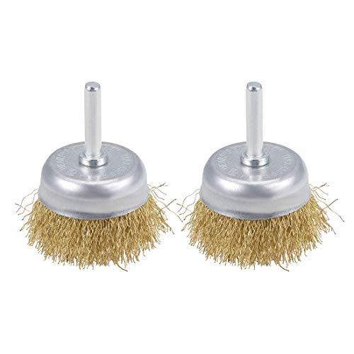 Cepillo de copa de alambre de 2 pulgadas de acero prensado chapado en latón con vástago de 1/4 de pulgada 2 piezas