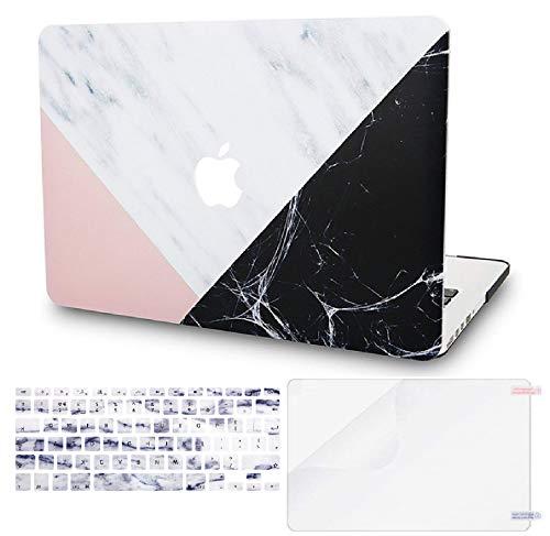 KECC MacBook Air 13 Pulgadas Funda Dura Case w/EU Cubierta Teclado + Lamina Protectora MacBook Air 13.3 Ultra Delgado Plástico {A1466/A1369} (Mármol Blanco Rosa Negro)