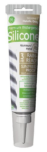 GE GE285 Silicone II Metal Glue and Caulk, 2.8 oz Tube, Metallic Gray Color (Case of 12)