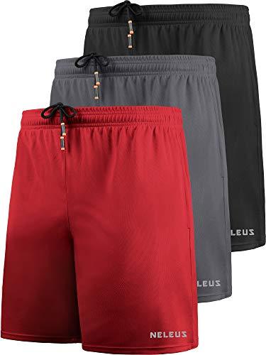 "Neleus Men's 7"" Mesh Running Workout Shorts Gym Basketball,6058,3 Pack,Black,Grey,red,M,EU L"