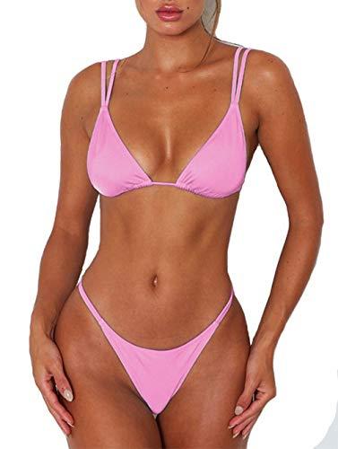 ForBeautyShe Women's Solid Brazilian Bikini High Leg Thong Swimsuit Two Piece Bathing Suit Push Up Swimwear Pink M
