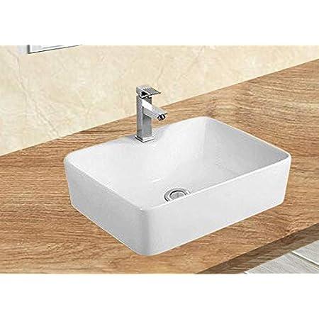 avec Bonde en C/éramique Blanc Eridanus Vasque /à Poser Rectangulaire Salle de Bain Lavabo en C/éramique Blanc Lave-Mains Toilettes L51*L40*H14cm