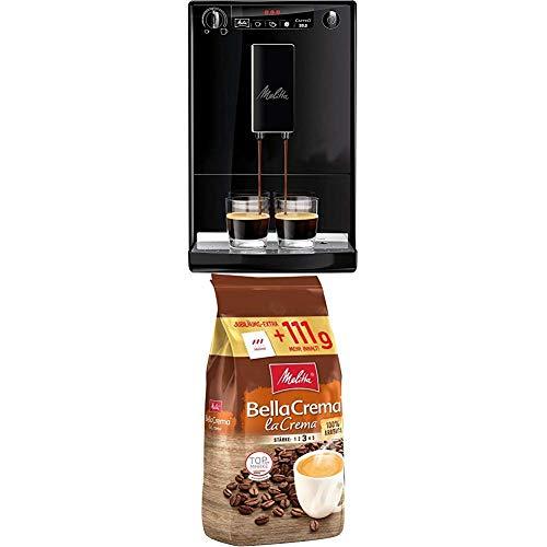 Melitta Caffeo Solo E 950-222 Kaffeevollautomat (Exzellenter Kaffee-Genuss dank Vorbrühfunktion und herausnehmbarer Brühgruppe) pure black + Ganze Kaffeebohnen, 100% Arabica, vollmundig und ausgewogen