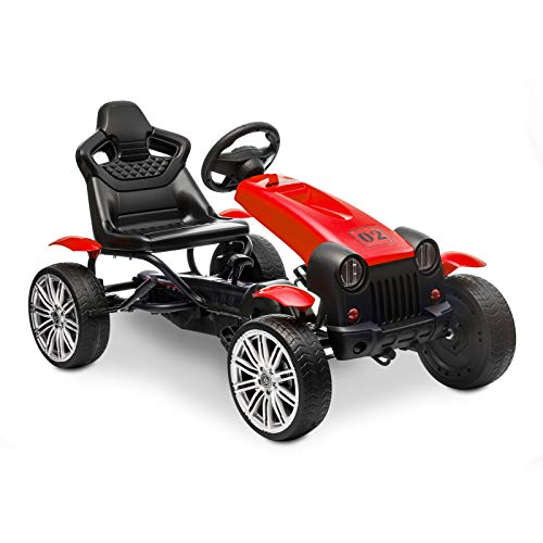 HOMFY Pedal Go Kart Children Ride on Racing Car Toys Adjustable Seat, Handbrake and Shift Lever - Red