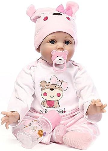 SHTWAD Reborn Baby-Puppe Babypuppen Simulation Weißhe Silikon Neugeborenen Babys Spielzeug 21.6 Zoll