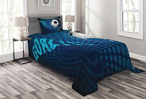 ABAKUHAUS Voetbal Bedsprei, Abstract Goal Patroon, Decoratieve Gewatteerde 2-delige Spreiset met 1 Kussensloop, 170 x 220 cm, Blauw Zwart Wit