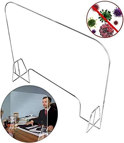 Schutz für Starnuti aus Plexiglas, transparentes Schild selbststehend für Banken und Schreibtisch mit Transaktionsfenster für Kassier und Restaurants, 80 x 40 cm