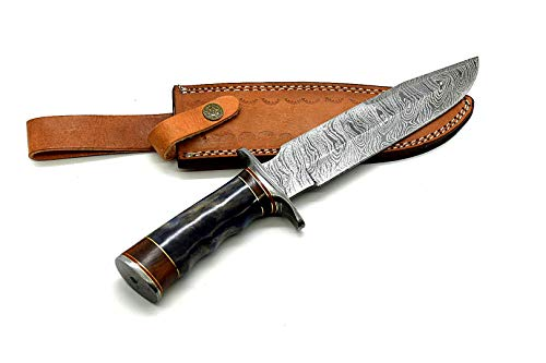 Nooraki BK-3017 Handmade Damascus Steel 13 inches Bowie Knife – Buffalo Horn Handle with Leather Sheath