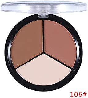 Make Up 3 Colors Face Pressed Powder Palette Makeup Contour Kit Concealer Highlight & Bronzer Powder Cosmetics Kit (106)