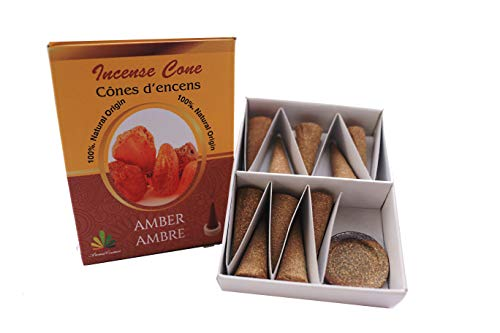 IPOWERSOURCE - Conos de incienso con aroma a ámbar - 100% naturales certificado por ICEA (Italia) -...
