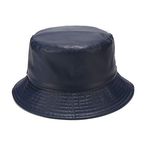 Moda PU Sombrero de Cubo Sombrero de Pesca Sombrero de Senderismo Plegable Hip Hop Street Market Impermeable Hombres y Mujeres-Navy Blue