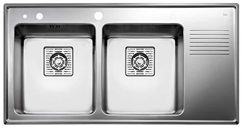 TEKA Spüle Frame 2B 1/2D inkl. Siebeinsatz und Seifenspender, in poliertem Edelstahl, Becken links, 2 Becken, Doppelbecken