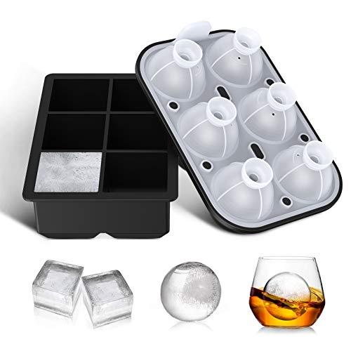 Eiswürfelform Kugelförmige Eiswürfelbehälter und Groß Cube Silikon Eiswürfelform mit Deckel FDA Zertifiziert und BPA-frei 6-Fach 2 Stück Ice Cube Tray für Cocktail Whisky Gin Eis Babynahrung