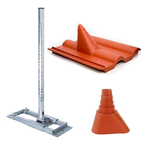 PremiumX Deluxe X90-48 Dachsparrenhalter 90cm Mast Sparrenhalter SAT Dach-Halterung Dachabdeckung Frankfurt rot Dach-Ziegel Gummimanschette