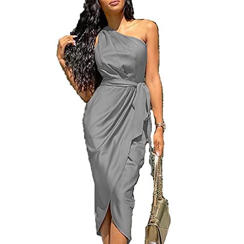 Primavera Y Verano Moda Casual para Mujer Collar Oblicuo Color SóLido Autocultivo Vendaje Cintura Irregular Oblicuo Hombro Satinado Vestido Mujer