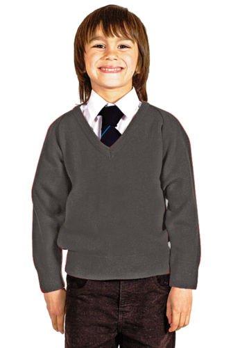CKL Niños Escuela Uniforme V Cuello Premium Mezcla de Lana de Punto Pullover Jumper Gris School Grey