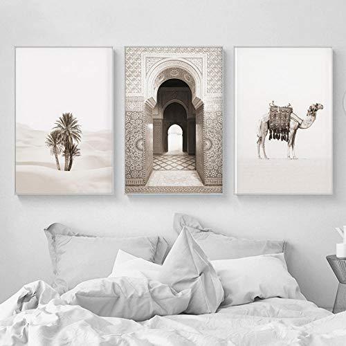 MYSY Marokko Tür Kamel Wüste Kokospalme Wandkunst Leinwand Malerei Nordic Poster Und Drucke Wandbilder Für Wohnzimmer Decor-50x70 cm 3 stücke kein Rahmen