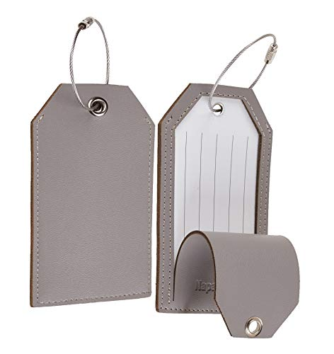 Toughergun Leather Instrument Baggage Bag Luggage Tags with Privacy Cover 2 Pcs Set (Grey Classic)